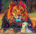 LION LAMB ABSTRACT 40X50CM-SQUARE